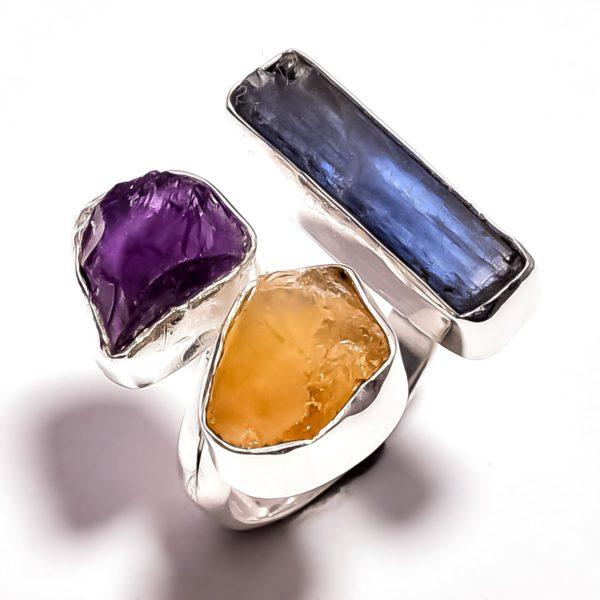Кольцо с кианитом, цитрином, аметистом