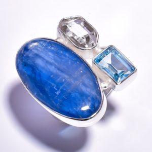 Кольцо с кианитом, топазом, херкимерским алмазом