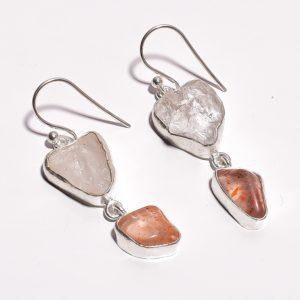 Серьги с горным хрусталём и персиковым лунным камнем
