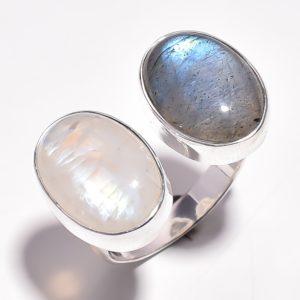Кольцо с лабрадоритом и лунным камнем
