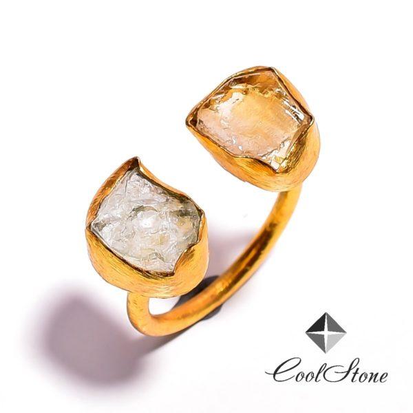 Кольцо с цитрином и аквамарином