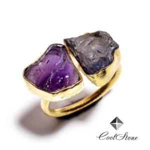 Кольцо с аметистом и иолитом