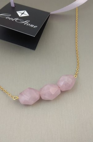 Ожерелье розовый кварц