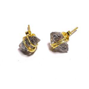 Серьги с тёмным херкимерским алмазом